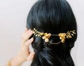 Petra Tiara: gold modern romantic floral hair piece