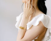 Esme Cuff: romantic /  gold floral cuff with pearls