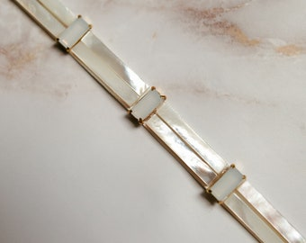 HARRIET belt / mother of pearl and moonstone beaded belt / art deco minimalist bridal wedding sash