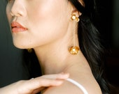 Twyla: modern floral drop earring / with pearls accents