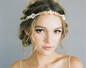 "Ombre blush beaded wedding headpiece ""Piper"""