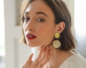Jill - ceramic earrings in gold and ivory
