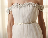 Milly Sash - pearl and opal and crystal beading, wedding belt