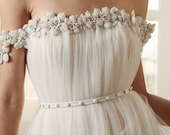 Anna - white leather belt with pearl studs, made to measure
