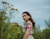 Raquel - Gold Metallic Leather Flower Earrings