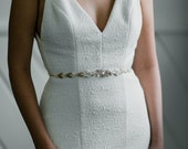 Nigella: Ivory, gold & crystal bridal sash / Art Deco