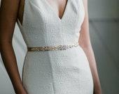 Mirabella - Ivory & Crystal Embellished Leather Sash