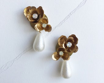 Odette: floral statement earrings / pearl accents / modern vintage