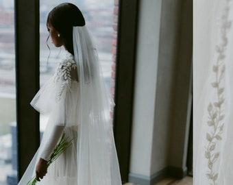 Cara: Beautiful Intricately Beaded Veil // Classic wedding, elegant