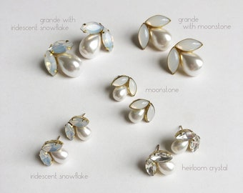 Polly earrings / pearl and moonstone stud earring / classic wedding style