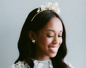 Tess Tiara with Marbleized Silk Flowers and Beaded Accents