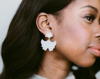 Amelia Laser Cut Gingko Earrings