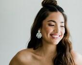 Maya - Geometric Laser Cut mother of pearl Bridal Earrings