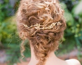 "Romantic rustic gold leaf and crystal hair comb ""Madison"""