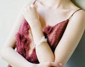 Sascha Cuff: resin leaf motif / modern bridal / with white beading