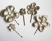 Joey - Metallic Leather Floral Hair Pins