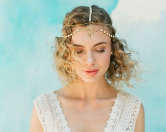 """Boho elegant wedding head chain with gold and ivory detailing """"Ames"""""""