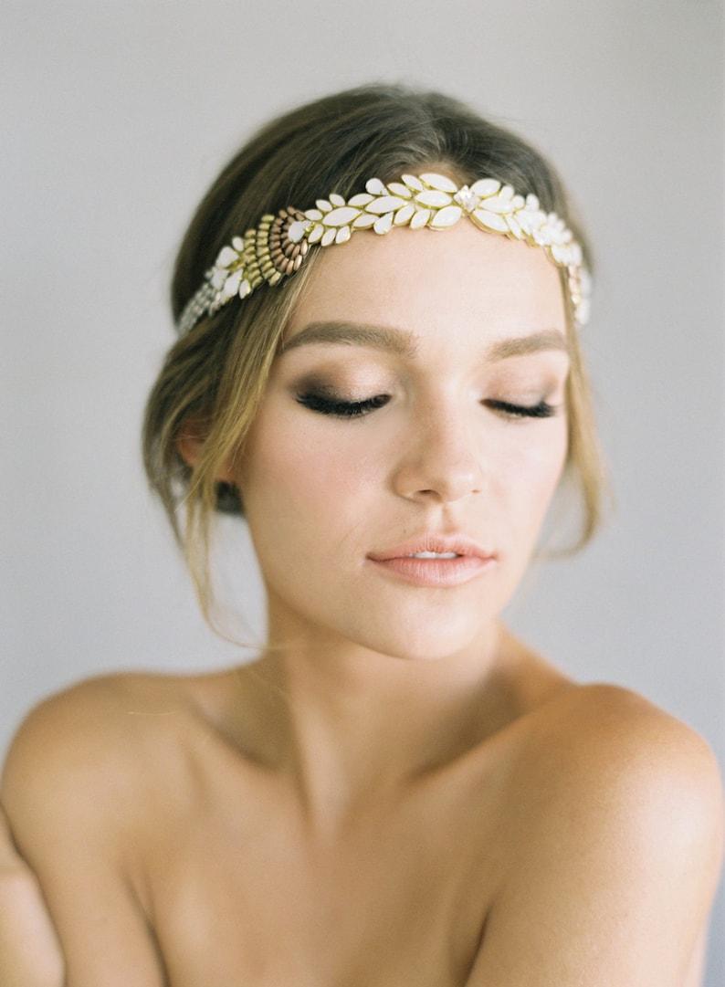 Ombre beaded wedding headpiece Paloma