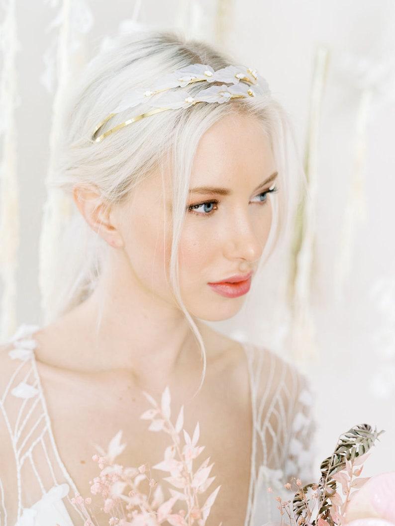 bridal boho hair vine tiara leaf motif with white and moonstone beading