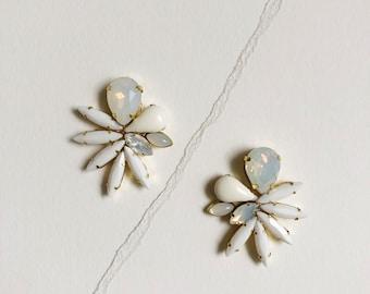 Falcon // Asymmetric moonstone and opal earrings // bridal and party earrings