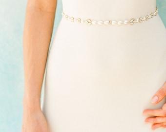 "Pearl and crystal thin beaded wedding belt ""Corey"""