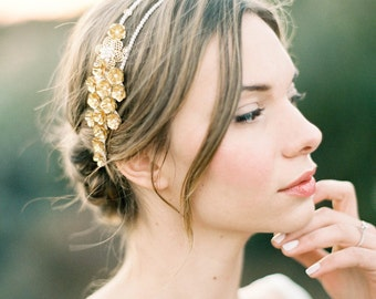 "Gold flower romantic wedding double headband with pearls and crystals ""Clara"""