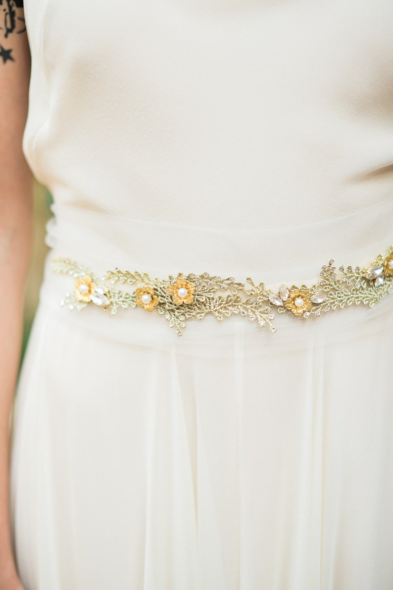 Romantic Wedding Belt with vine, flower and crystal detail