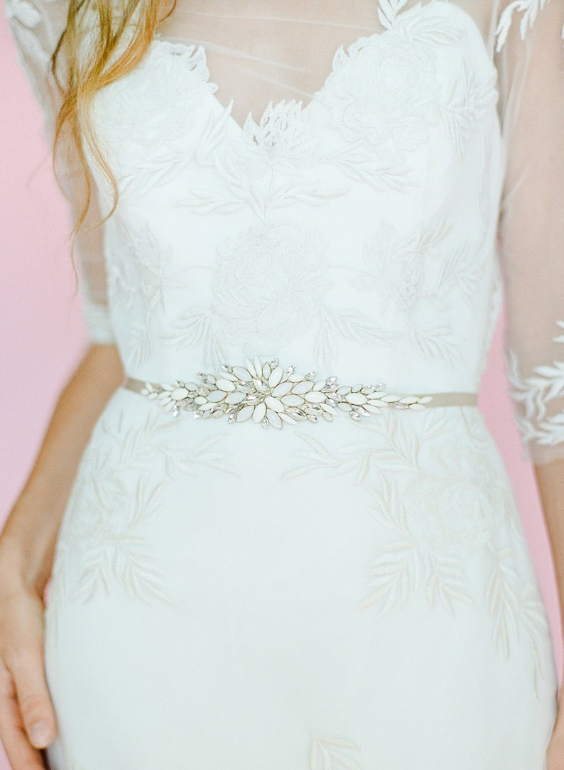 BohoLux Beaded Belt in shades of white and crystal