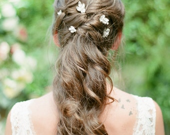 TAMARA / crystal cluster beaded hair pins / glam wedding hair accessory