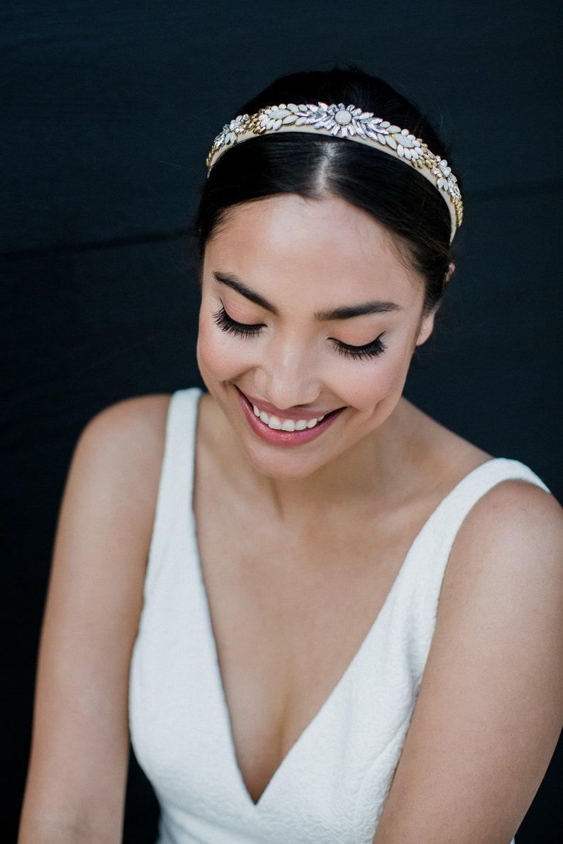 hand beaded wedding headpiece - art deco wedding headband