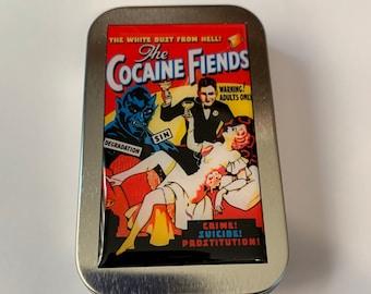 Vintage Reefer Cocaine Fiends Poster Stash Box Tin