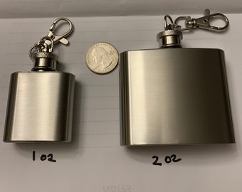 Custom Personalized Key Chain Flask 1 or 2 ounce