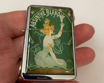 Absinthe Green Fairy Vintage Windproof Flip Top Lighter