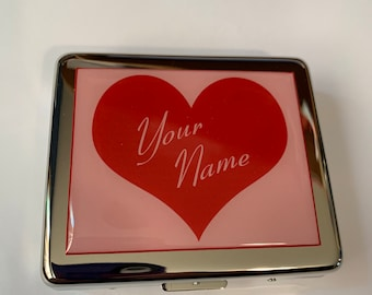 Pill Box 8 Day with Mirror Custom Made With Your Name Choice