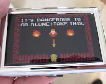 Zelda 8 bit Its Dangerous To Go Alone Card Case or Wallet