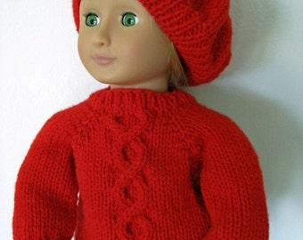 2f24e452f81bf Knitting Pattern for 18 inch American Girl Doll Twisted Cable Sweater and  Slouch Hat Instant Download now available