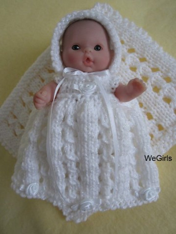 Berenguer Baby Doll Knitting Pattern Lace Christening Gown Set Etsy