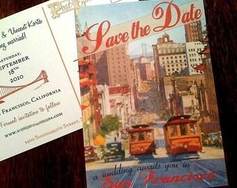 Vintage San Francisco Postcard Save the Date