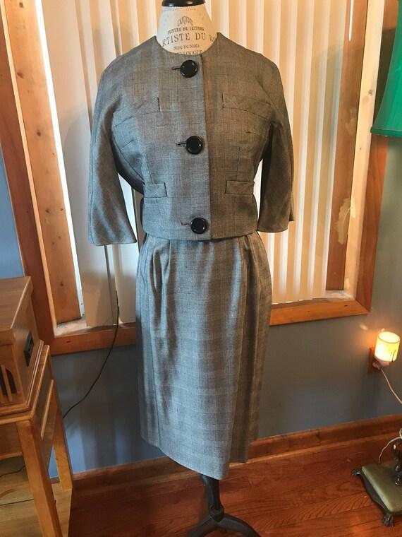 Vintage gray dress suit, business attire