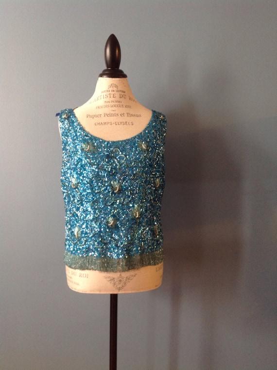 Vintage beaded sleeveless blouse