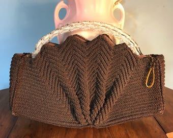 Vintage Handmade crochet handbag with clear lucite handles