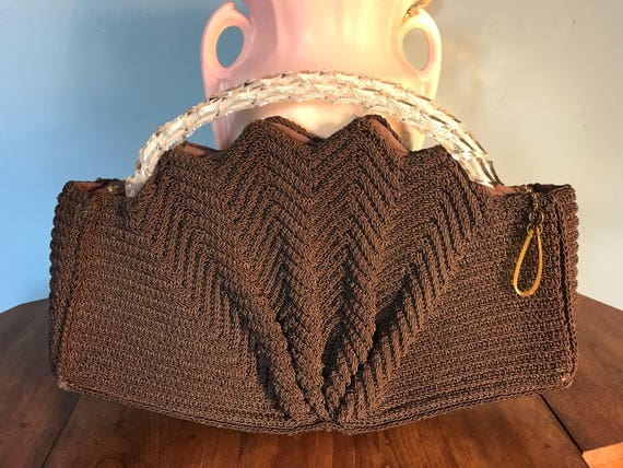 Vintage Handmade crochet handbag with clear lucite