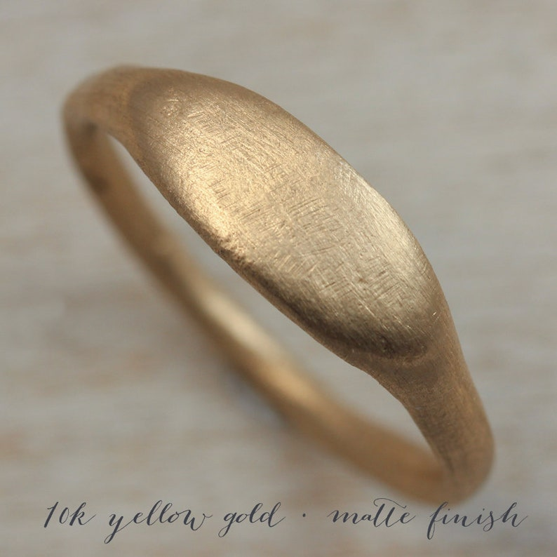 Eco-friendly Viking Primitive Bronze Age Gold or Palladium Simple Alternative Engagement Ring Women/'s Ancient Texture Oval Signet Ring