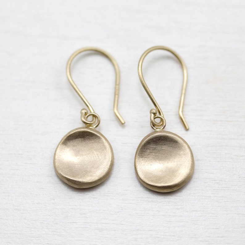 bf90127a0 Gold Disc Earrings Simple Gold Earrings Medium Disc Dangle | Etsy