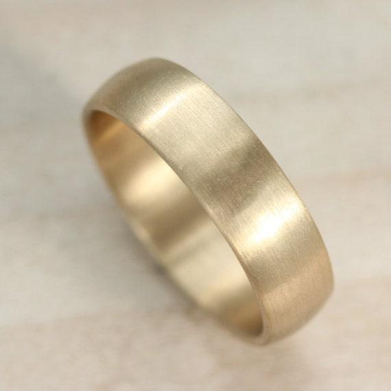 6mm Hand Carved Classic Men S Wedding Band Smooth Etsy