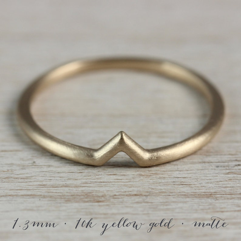 Solid Gold Ring V Ring Stacking Rings Contoured Wedding Ring Matte Gold Ring Chevron Ring Dainty Gold Ring Womens Wedding Band