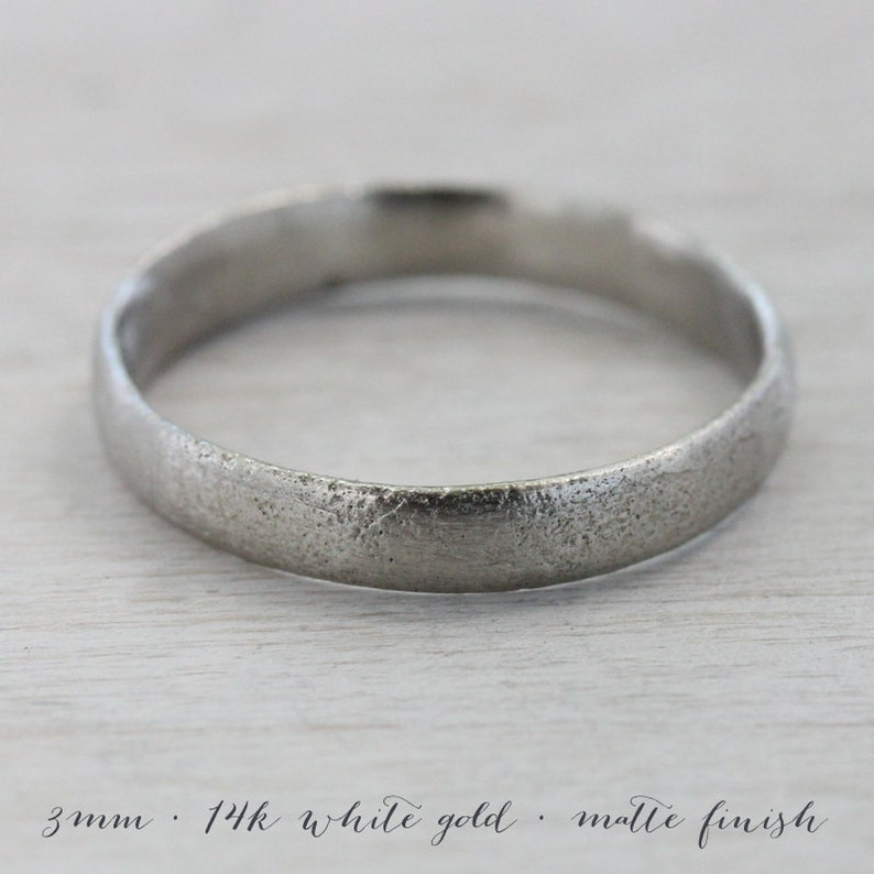 3mm Wide Ancient Rustic Textured Women/'s Wedding Band Eco-friendly Simple Primitive Bronze Age Ring Palladium or Gold Minimal