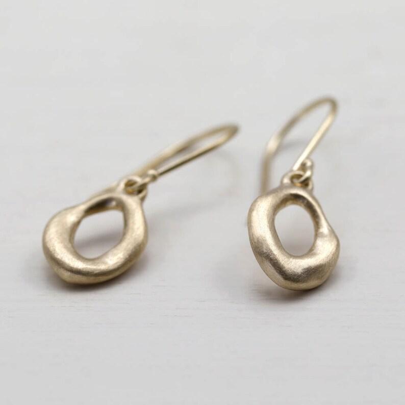 Torus Dangle Earrings Rustic Earrings Minimal Earrings Simple Gold Earrings Organic Earrings Solid Gold Earrings Dainty Earrings