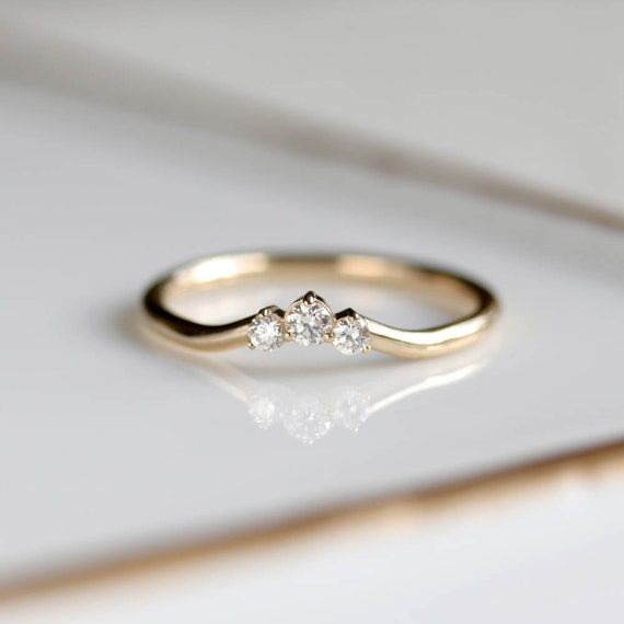 Dainty Gold Ring Stackable Rings Womens Wedding Band Etsy