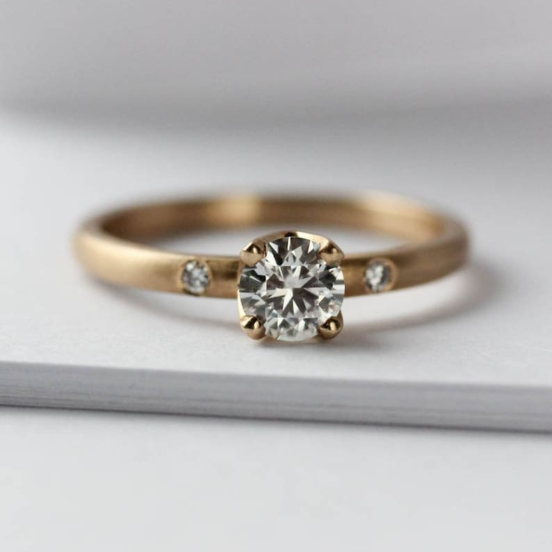 e309c6868f8d6 5mm Crown Solitaire Women's Engagement Ring with Side Stones - Ethical  Diamond or Forever One Moissanite - Minimal Simple Classic Solitaire